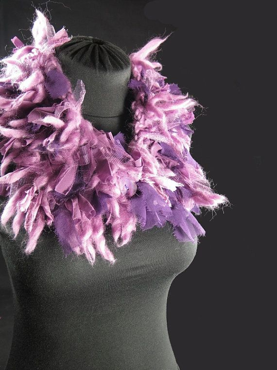 Designer's knitted choker scarf, pure merino wool, frayed silk ribbons, tulle, pink mauve purple, hand-made by kalani