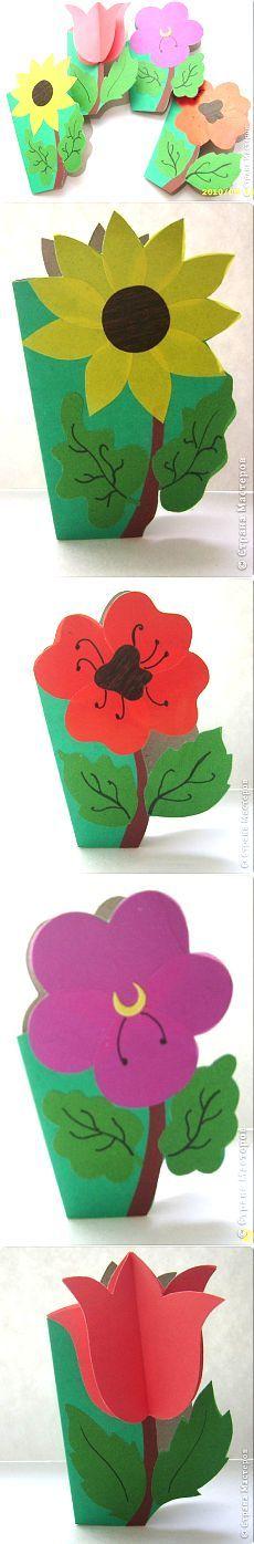 Цветочные мини-открытки по трафарету | Умелые ручки