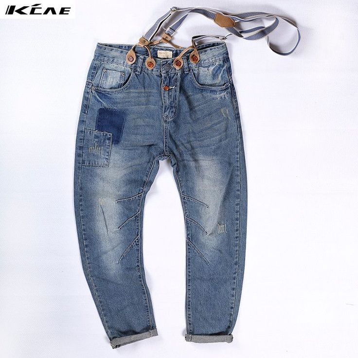 New Mens Slim Jeans Denim Overalls Distressed Pants Jeans Ripped Bib Overalls for Mens Plus Size M-XXL #Affiliate