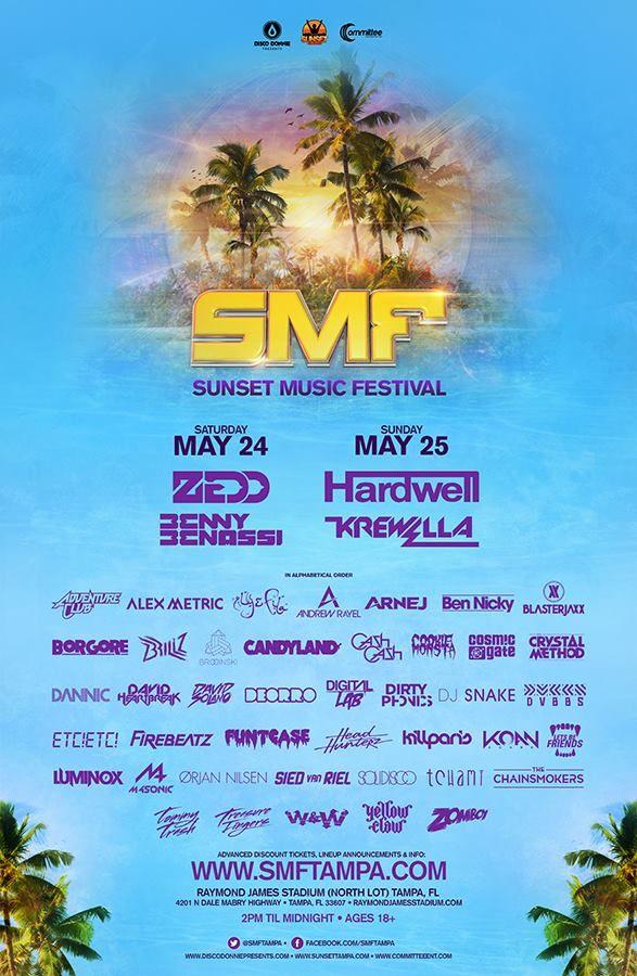 OFFICIAL Sunset Music Festival 2014 Lineup Announced! #festival #sunset #tampa #summer #hardwell #krewella #zedd #smftampa