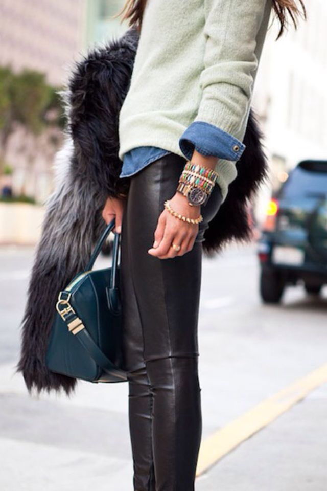 Leather leggings, teal bag, and a peek of chambray.: Sweater, Fashion, Street Style, Outfit, Leather Pants, Leather Leggings, Fall Winter
