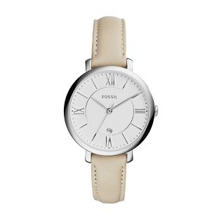 The personalized Fossil Jacqueline White Leather Watch makes a bold statement  with a classic look. This finely crafted watch features Roman numerals and the  date on the dial and a quality white leather band. Engrave the back of this     Fossil watch for women with a secret message, names or monogram.               <br><br>                                                                        -Case: 36mm x 7mm<br>                                                           -...