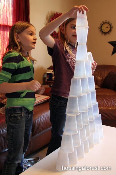 Cup Stacking- simple fun on a rainy day