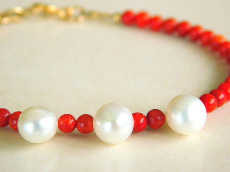 Red Bamboo Coral and Pearl Bracelet, Delicate and Dainty Bracelet by jljewellerydesign on Etsy