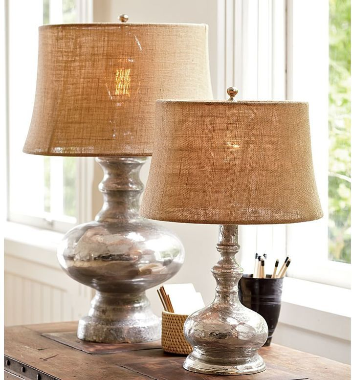 Antique mercury glass table bedside lamps pottery barn the original source