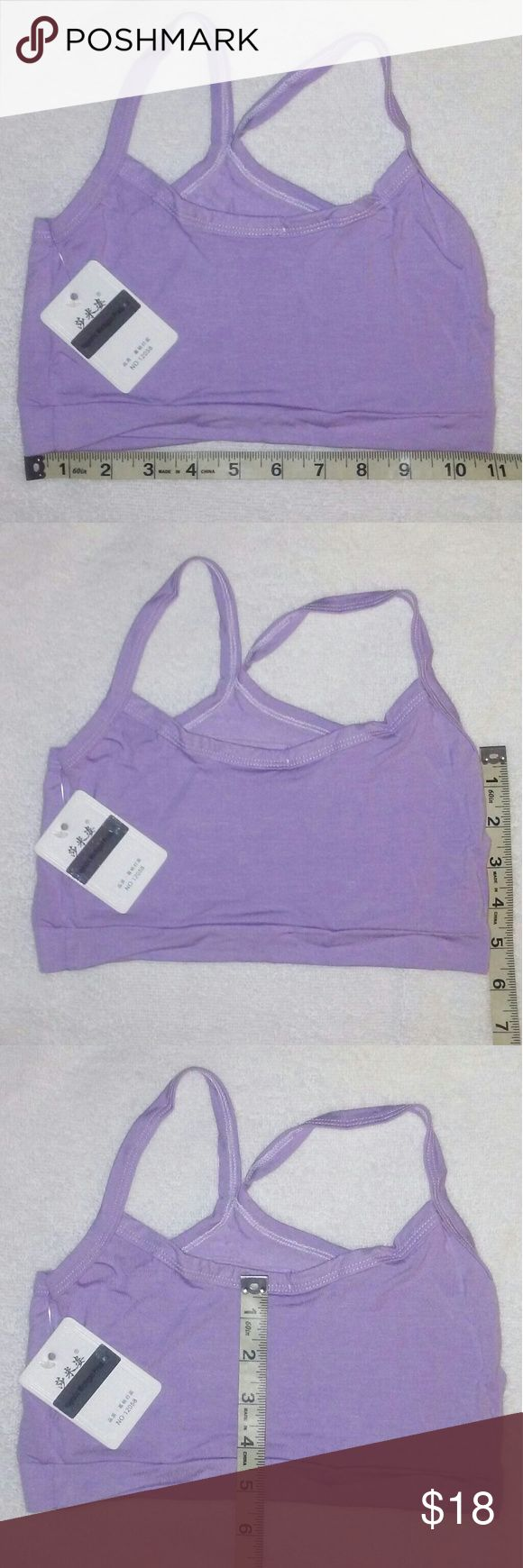 Women's Purple Sports Bra crop top cami Gym Yoga You are Viewing 1 Brand New Women's Sports Bra Purpl petite Solid crop top cami Cotton Gym Yoga Bra Wire Free one size. Lenght 28cm/11.02 inches Bust size 64-88cm /25.2 inches 34.65 inches, CHEST PADS are NOT INCLUDED. Super elastic, breathable & Comfortable, 80  % Cotton 20 % Spandex made in China. Majestic Michigan Products Intimates & Sleepwear Bras