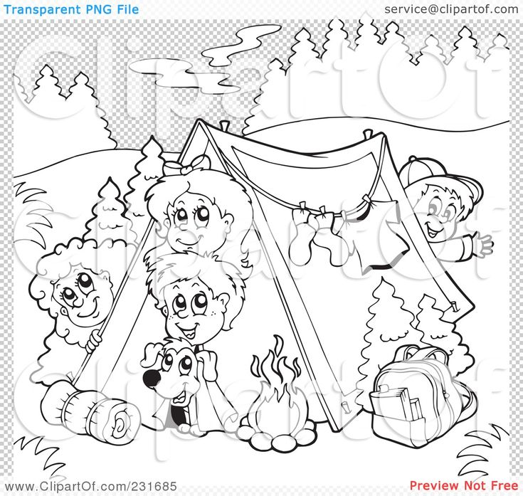Kids Camping Animals Clipart