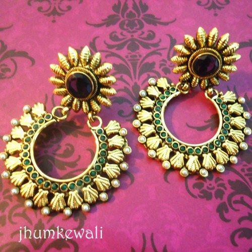 FLORAL chand BALI style earrings - PURPLE  - Online Shopping for Earrings by Jhumkewali - Online Shopping for Earrings by Jhumkewali
