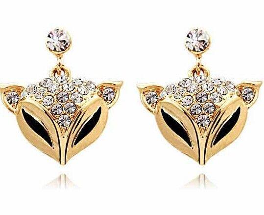 Js E073 Fox pendientes 18 K oro pendientes joyería libre del níquel Animal pendientes de moda 2014