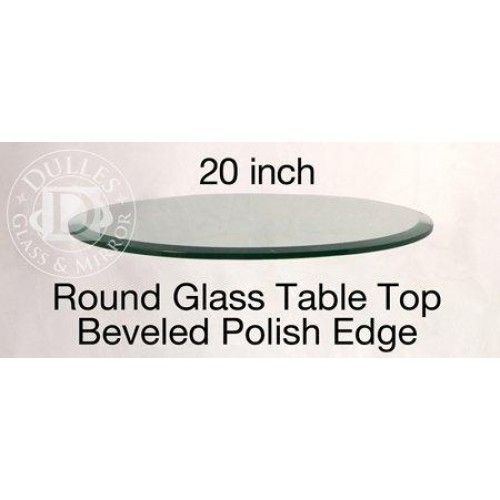 """20 Inch Round Glass Table Top, 1/2 Thick, Beveled Edge, Annealed Glass  20 round glass table top: can be placed on a pedestal to create an instant side table, or can be used as a top table cover to protect the surface of existing furniture. The edge of the glass is 1"""" bevel polished with a green hue. High quality workmanship. Weighs 13.95 lbs. (Glass table top only) """" Features :Glass table tops to be used as glass tops or glass covers for existing table or base *20'' Inch Round Glass Table"""