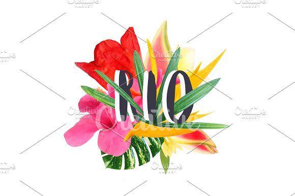 """Floral collage """" Rio"""" by Trefilova Anna on @creativemarket"""