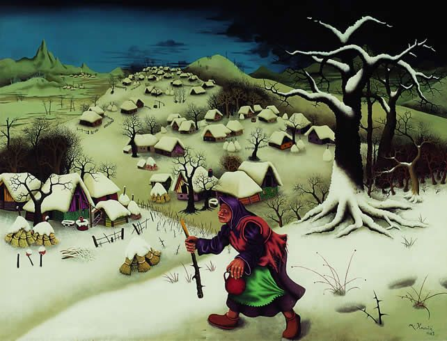 Painting by Mijo Kovacic, typical of the Croatian naive art school