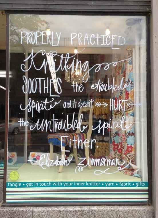 Window of the local yarn shop, Tangle.
