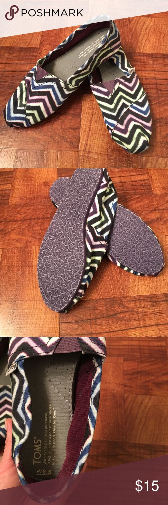 Chevron Toms Brand new never worn purple and multi colored toms TOMS Shoes Flats & Loafers