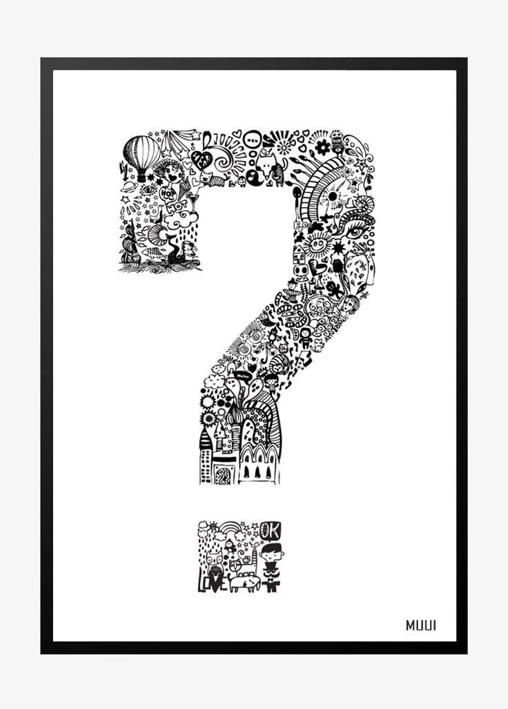MUUI – Question mark i sort/hvid
