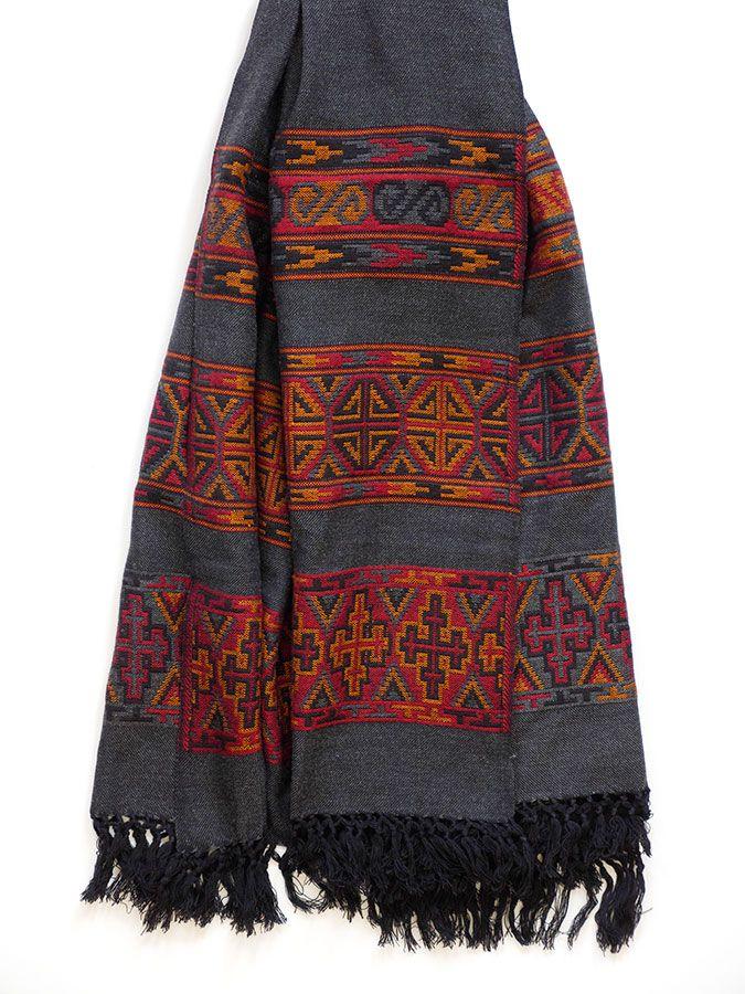 Hand loom Merino Wool Kullu Shawl / Blanket Scarf. Buy on http://naggarvalley.com/product/hand-loom-woollen-shawl-dark-grey-orange-red-black-octagon-and-cross-design/