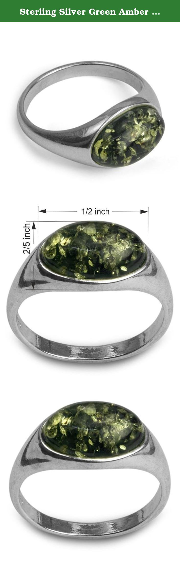 Sterling Silver Green Amber Oval Ring. Most of our amber found in Baltic sea area. Baltic sea considered to have biggest deposits of amber and quality of gemstone in this region is better than in any other location. Besides Baltic region there are large deposits of amber in Dominican republic, Columbia and Africa.
