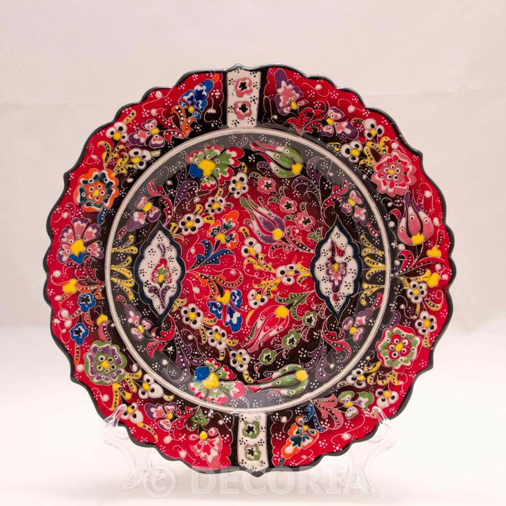 Large Plate - Red & Black - DECORIA HOME & GIFT