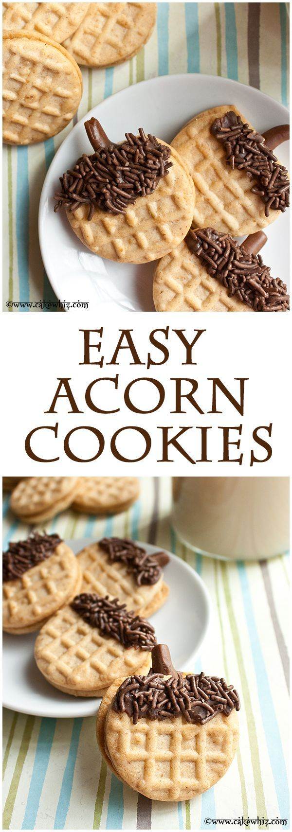 Easiest ACORN COOKIES ever. Kids can make these on Thanksgiving while you are busy with the turkey ;) From cakewhiz.com