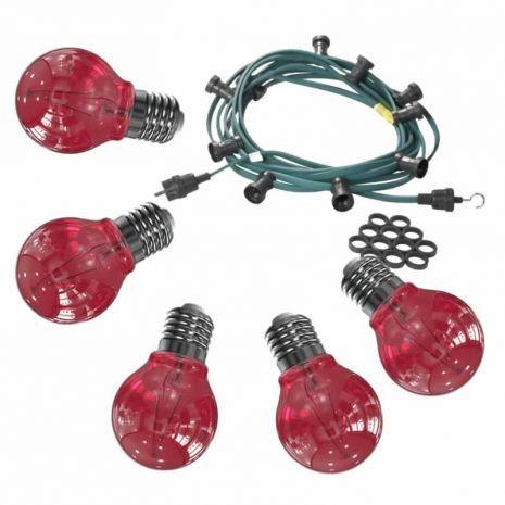 Feestverlichting 10 meter inclusief 10 rode heldere LED lampen filament van 1 Watt per stuk