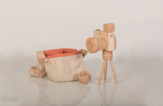 Wooden Toy Camera Set   Detachable flash by beigebois on Etsy