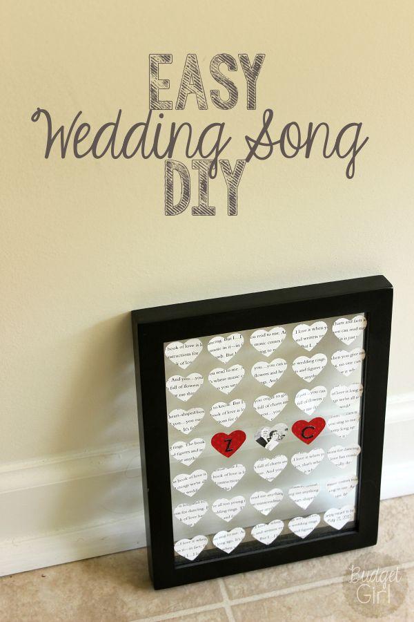 first year wedding anniversary gift ideas pinterest%0A Easy Wedding Song DIY  Paper Anniversary Gift IdeasWedding
