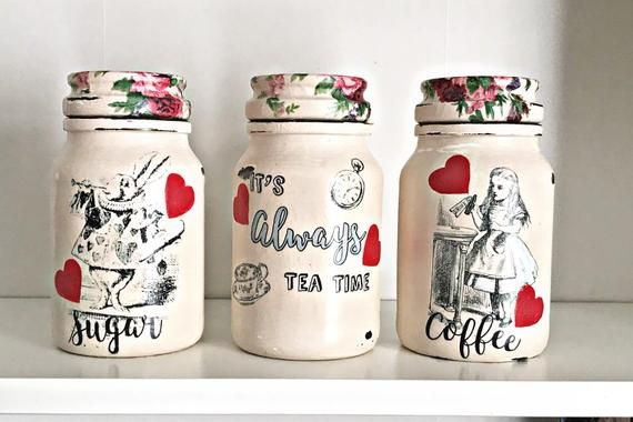 Alice in Wonderland kitchen canisters tea coffee sugar jars | Etsy ...