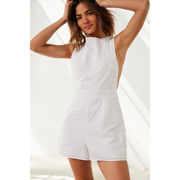 Kimchi Blue Eyelet Drop Armhole Romper (225 BRL) ❤ liked on Polyvore featuring jumpsuits, rompers, playsuit romper, kimchi blue, white romper and white rompers
