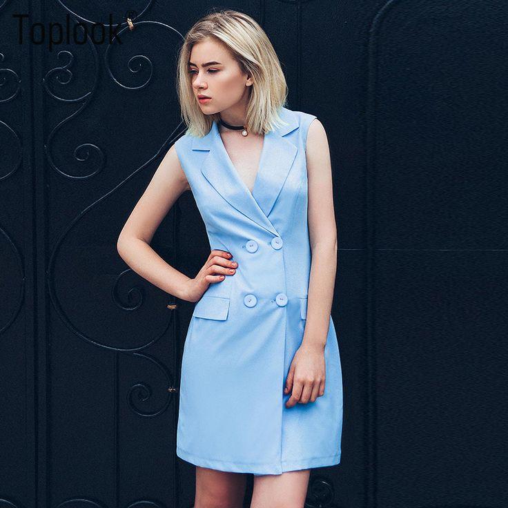 Toplook зубчатый shirt dress синий с плеча лето элегантный офис короткие платья женщин двубортный одеяние взлетно-посадочной полосы 2017 dress