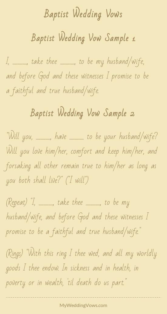 Baptist Wedding Vows Wedding Vows To Husband Wedding Ceremony Script Best Wedding Vows