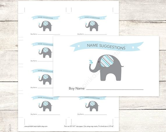 blue elephant name suggestions card baby name suggestions tickets printable baby shower DIY baby digital shower games - INSTANT DOWNLOAD