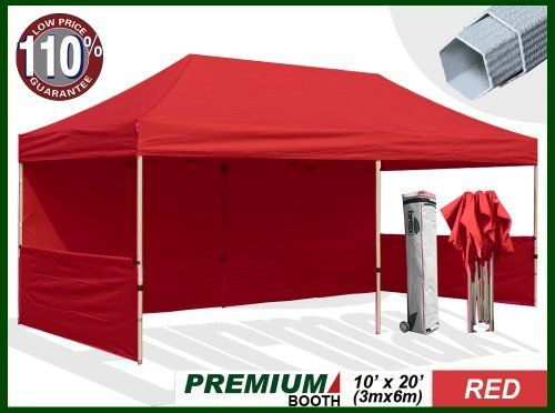 """Eurmax Premium Ez up Canopy Booth with Wheeled Bag,bonus 4weight Bag (20x10 Feet, Red) ( 1 3/4 Inch Hexagon Leg) by Eurmax. $739.95. Canopy top:600 Denier Polyester,Water Resistant,100% UV Protection,Fire Resistant: CPAI-84/ULC S109 & NFPA 701 Flame Retardancy Standards(canopy top size:10x20feet,.weight:17 LBS). Wheeled bag with 4.7"""" wheels,The Best design and easy to handle even on rough ground. Eurmax premium Canopy booth Includes:Canopy Top, Canopy Frame,back wall,Two(2)1/2wal..."""
