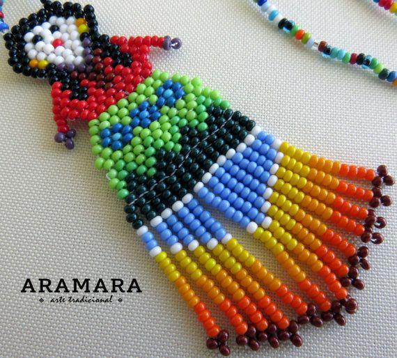 Mexicana Huichol cuentas muñeca collar COM-0012 por Aramara en Etsy