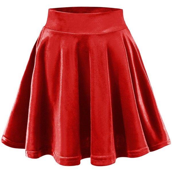 Urban CoCo Women's Vintage Velvet Stretchy Mini Flared Skater Skirt ($9.86) ❤ liked on Polyvore featuring skirts, mini skirts, flare skirt, mini skirt, flared mini skirt, red skater skirt and red circle skirt