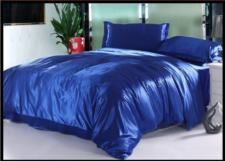 Blue Natural mulberry silk  bedding set Luxury king size queen full twin solid duvet cover linen bed sheet royalblue