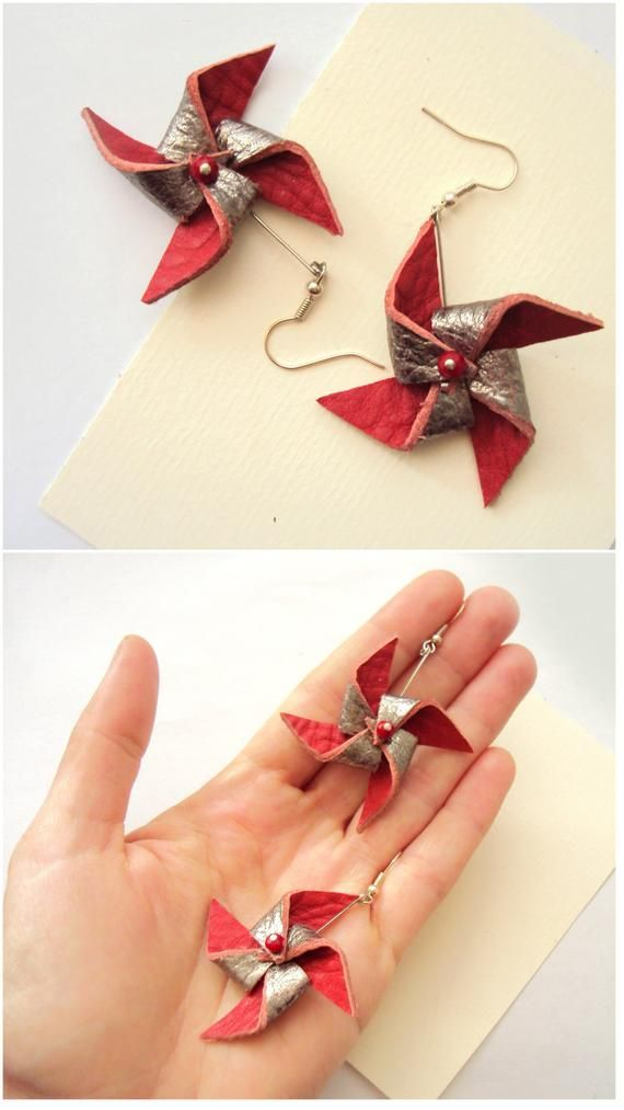 Amazing Windmill Earrings, Funky Leather Jewelry, Origami Pinwheels, Dutch Windmill, Red…