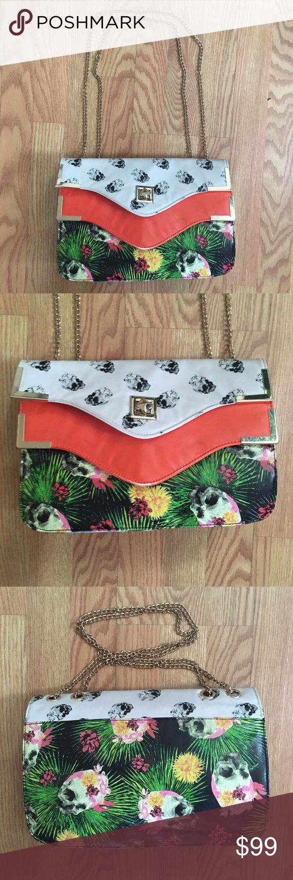 IRON FIST Tropical Skull Summer Shoulder Bag IRON FIST Tropical Skull Summer Shoulder Bag, used a few times, slight signs of wear on buckle and edges. EUC Iron Fist Bags Shoulder Bags