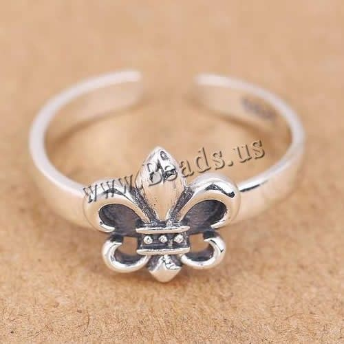Thailand Sterling Silver Cuff Finger Ring, Fleur-de-lis, open
