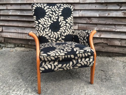 Parker-Knoll-Lounge-Arm-chair-Floral-Fabric-Vintage-Retro-Mid-Century-Furniture