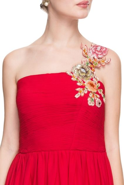 Red tube gown with floral sequin applique strap