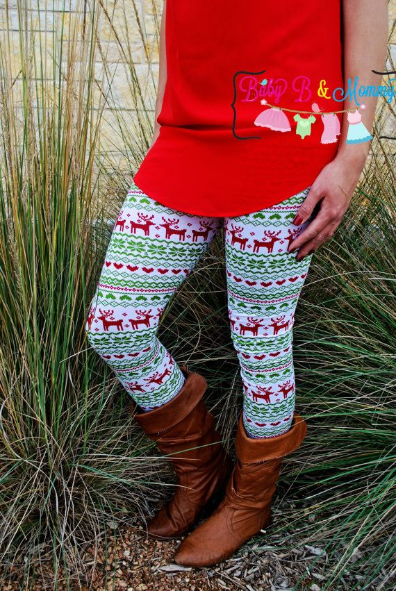 These adorable reindeer leggins are perfect to wear with a comfy tunic. I  can make XS-XL for the adult sizes and Newborn- 8 Girls for the li… - These Adorable Reindeer Leggins Are Perfect To Wear With A Comfy
