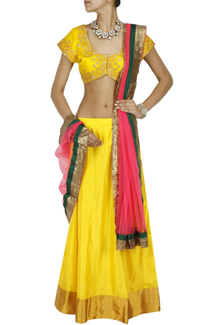 Yellow and pink embroidered lehenga set available only at Pernia's Pop-Up Shop.