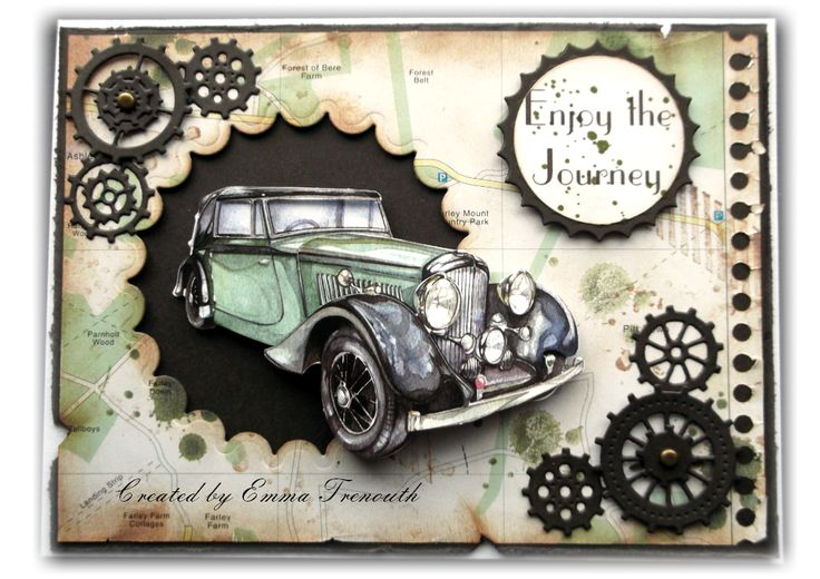 Male card using vintage car image, old map, spellbinders circle and cheerylyn cog dies. Stampin up gorgeous grunge stamps - neat layout