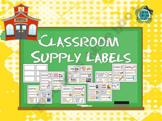 Classroom Supply Labels for Primary Teachers with Picture Clues (FREE)Classroom Supplies, Clues Free, Pictures Clues, Classroom Labels, Supplies Labels, Teachers Notebooks, Classroom Ideas, Primary Teachers, Classroom Organic