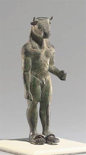 Minotaurio de bronce, griego; alrededor de 520 a 500 AC.