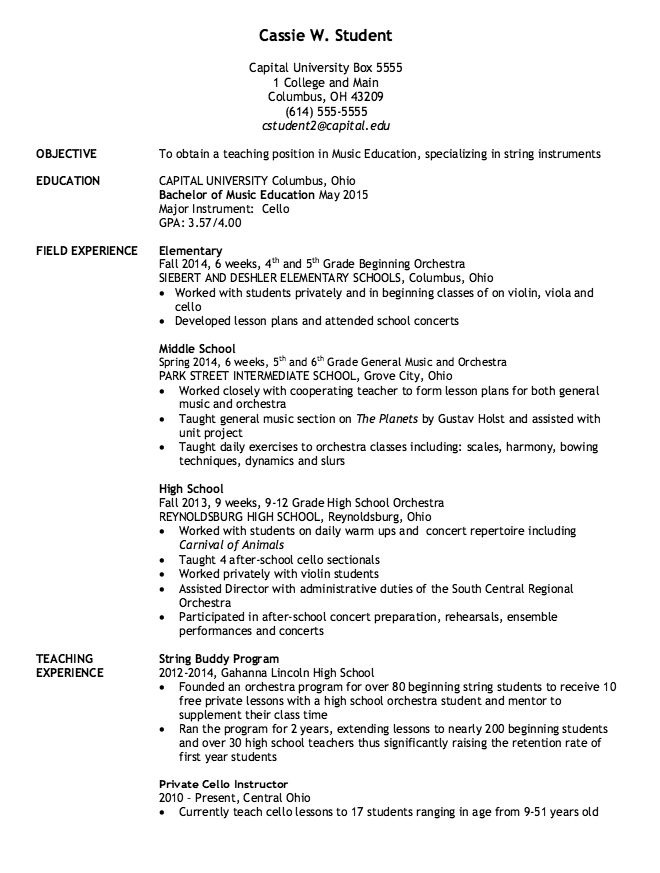 Sample Music Education Teacher Resume -    resumesdesign - objective for teaching resume