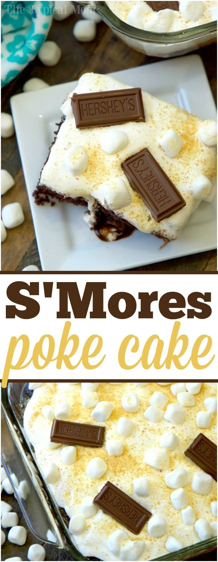 Baking Hershey's Milk Chocolate Smores poke cake with kids is not only delicious, but fun too! Covered in goodness, it's our favorite treat. AD via @thetypicalmom