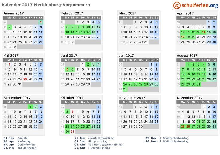 Kalender 2017 mit Ferien und Feiertagen Mecklenburg-Vorpommern
