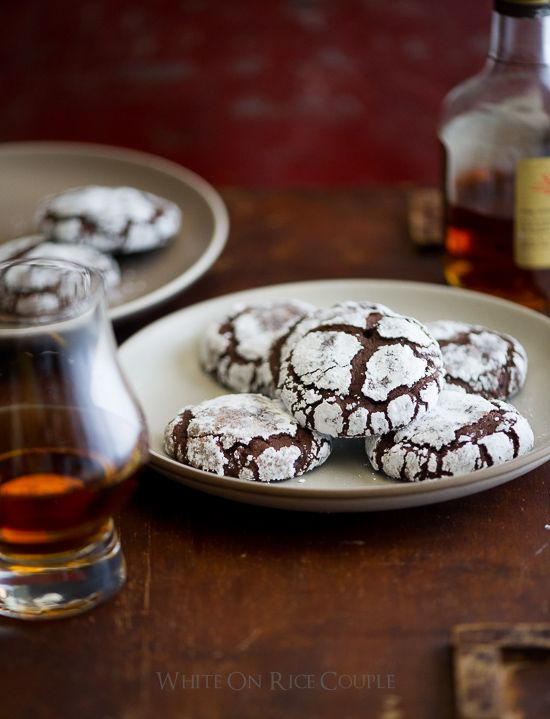 Bourbon Dark Chocolate Crack Cookies on WhiteOnRiceCouple.com  These are DELISH!