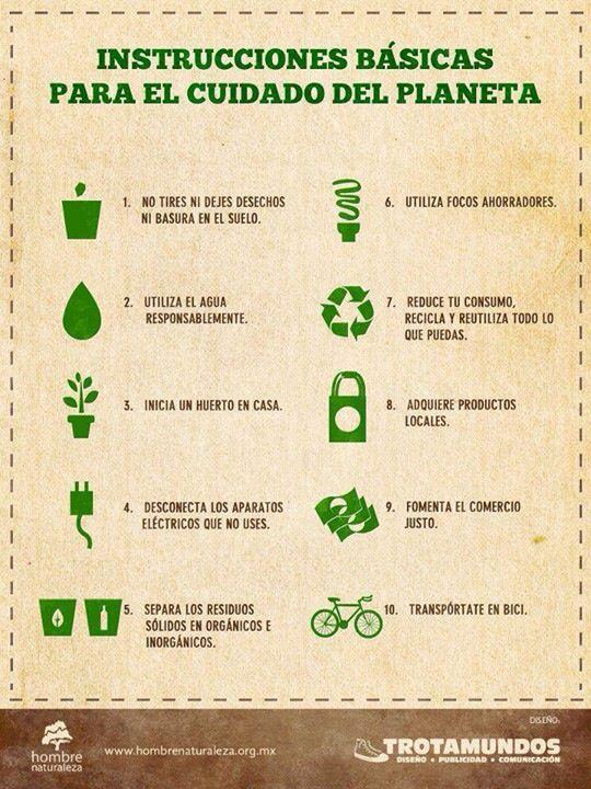 Instrucciones básicas para el cuidado del planeta - Infografía con 10 consejos para cuidar el planeta, de Trotamundos para la Fundación Hombre Naturaleza.